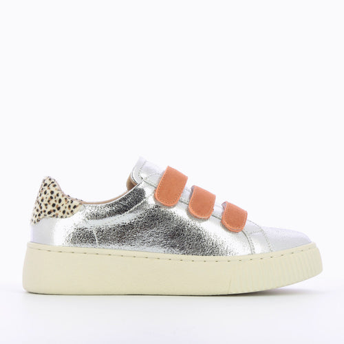 Silver Sneakers with Apricot Velcro