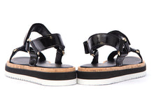 Load image into Gallery viewer, Alpe Black Flatform Sandals