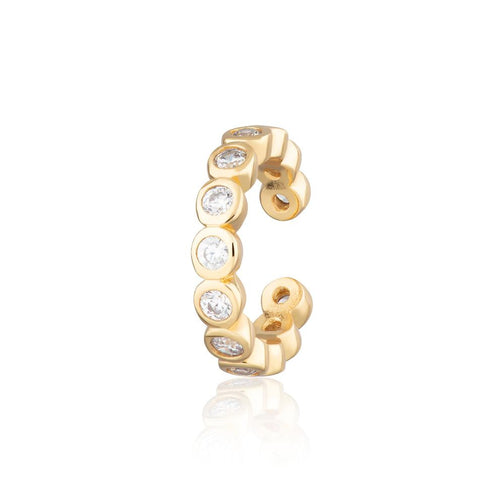 SP Bezel Single Ear Cuff with Clear Stones - Gold
