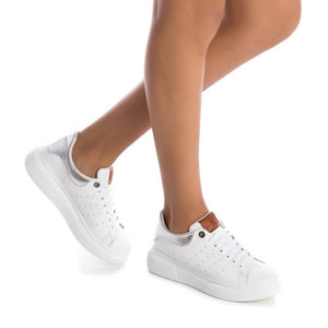 Carmela White Leather Trainer