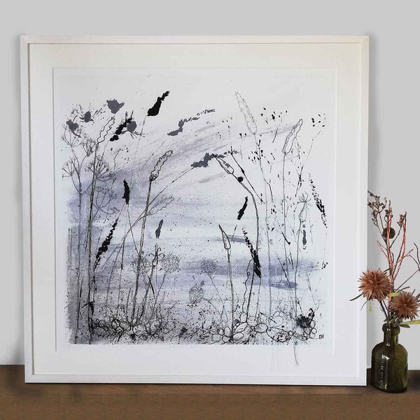 Autumn Shoreline Unframed Print with Embroidery