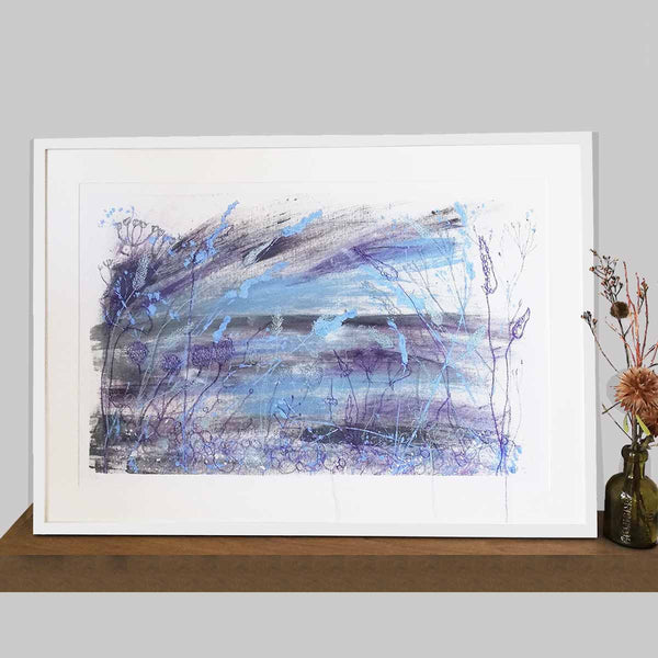 Dusk Unframed Print with Embroidery