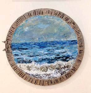 Horizon through a Porthole No. 7 - Mixed Media on Circular Canvas