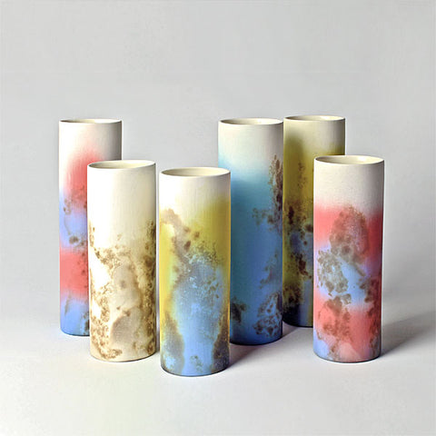 Smoke Fired Ceramic Cylinder Vases - Large