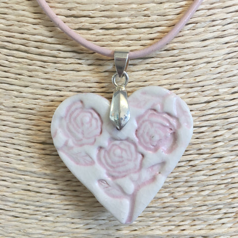 Rose Pink Heart Shaped Ceramic Pendant