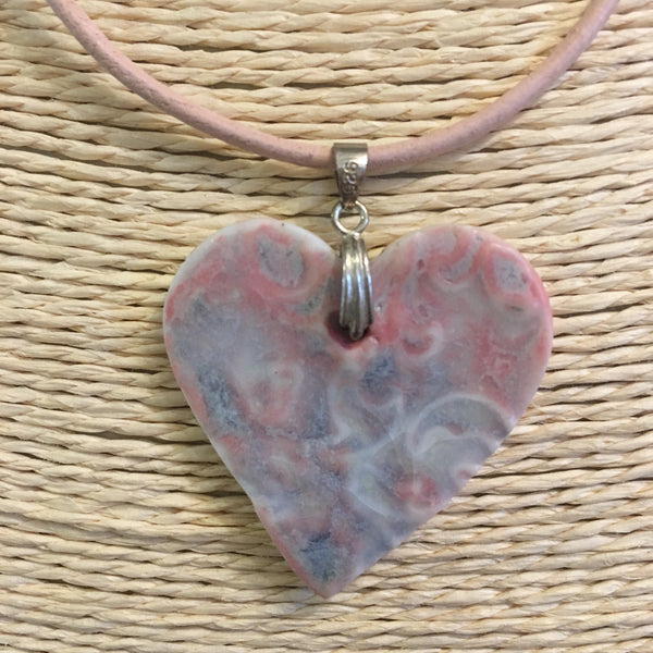 Pink and Blue Heart Shaped Ceramic Pendant