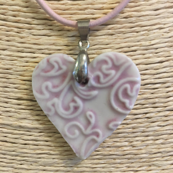 Pink Heart Shaped Ceramic Pendant