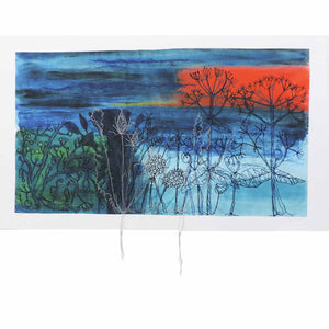 Sunset Sea View Unframed Print with Embroidery