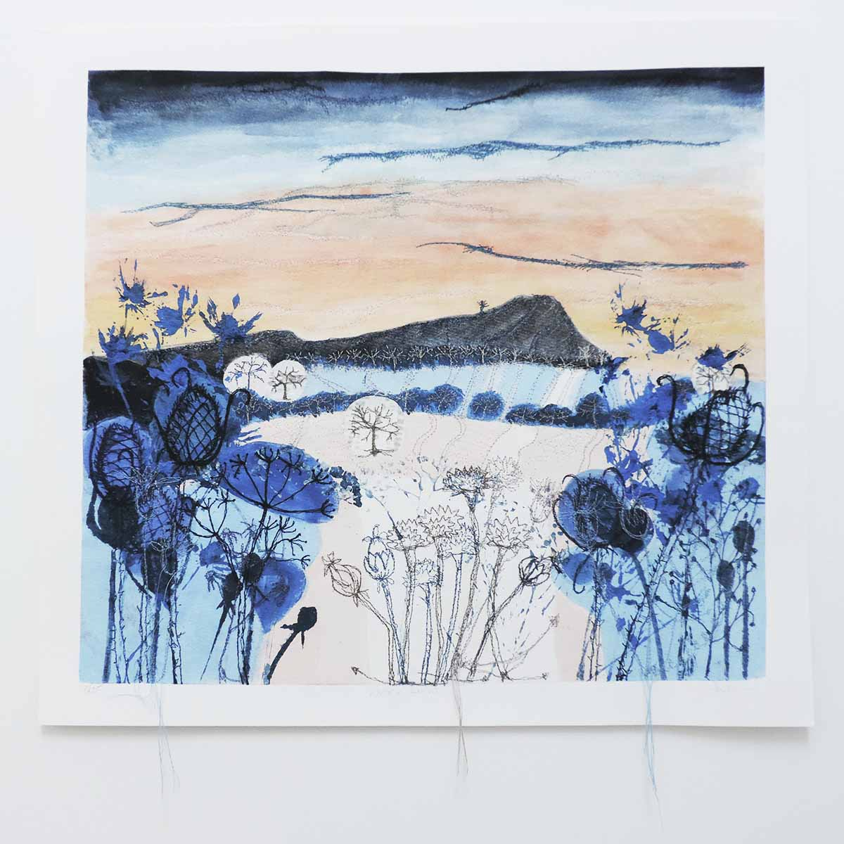 Winter Light Unframed Print with Embroidery