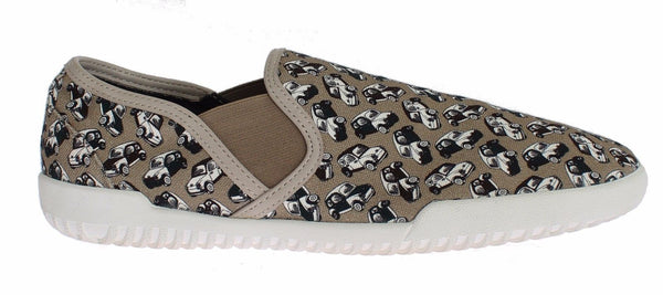 Dolce & Gabbana Beige Denim Car Print Loafers Sneakers Shoes