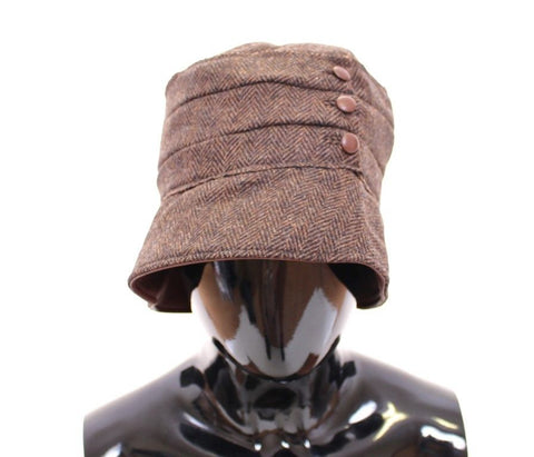 Brown Wool Leather Bucket Cap Hat Cappello