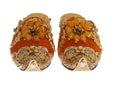 Orange Crystal Slides Flat Sandals