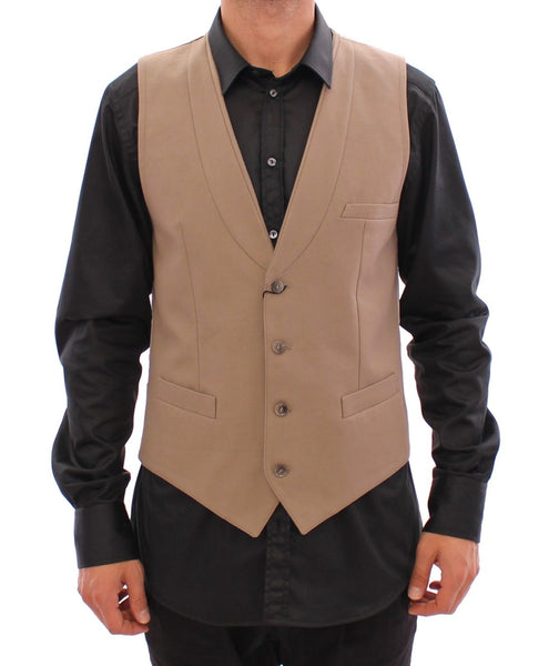 Beige Cotton Slim Fit Button Front Dress Vest