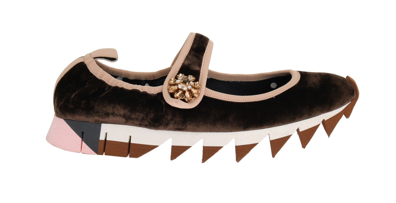 Brown Velvet Crystal Strap Ballerina Shoes