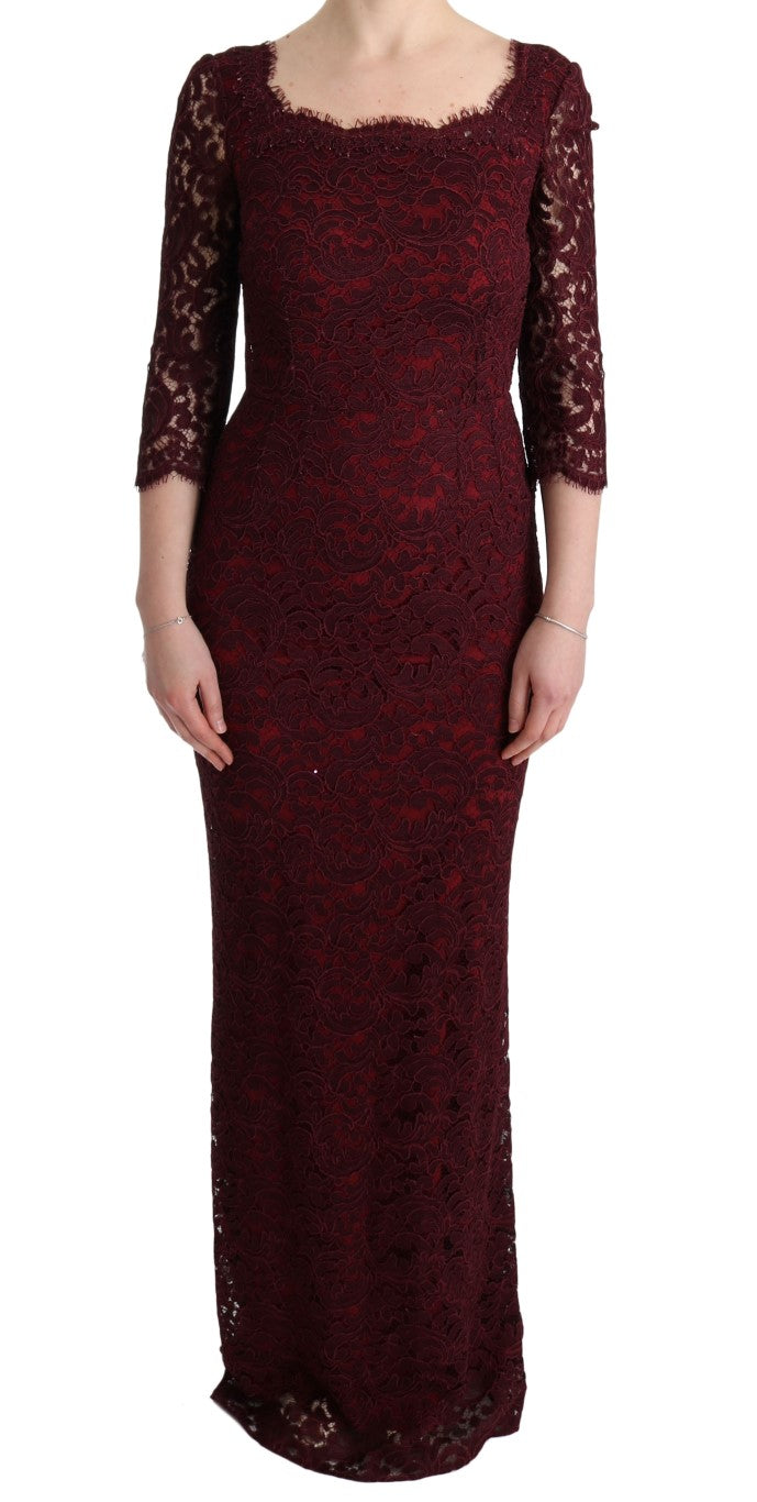 Bordeaux Floral Ricamo Sheath Long Dress