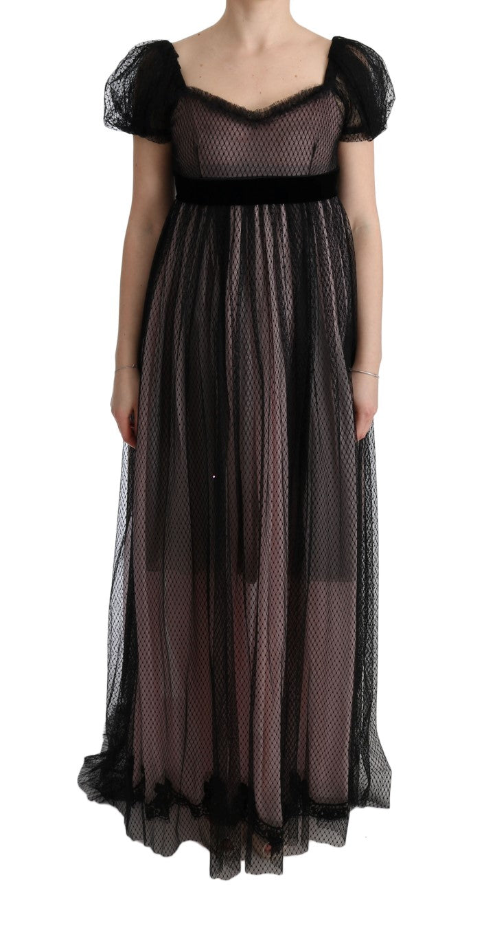 Black Pink Silk Long Shift Dress