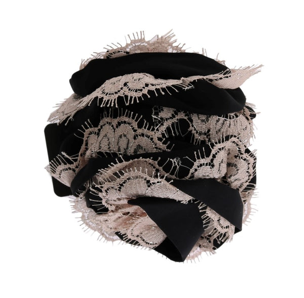 Black Silk Pink Floral Lace Hair Claw