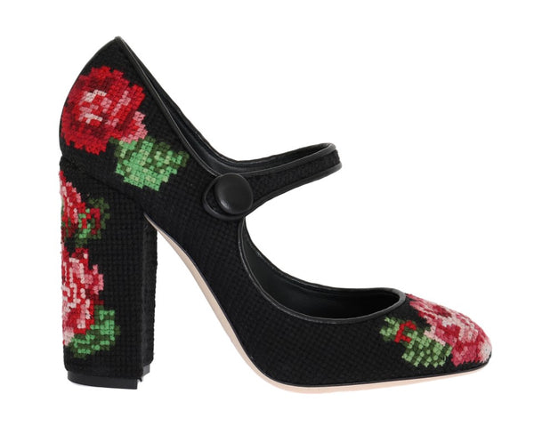 Floral Leather Hand Stitched Pumps