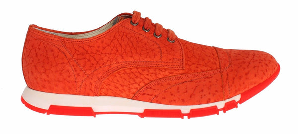 Sneaker Shoes Orange Leather Sport Casual