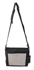 Billionaire Italian Couture Black Gray Leather Messenger Shoulder Bag