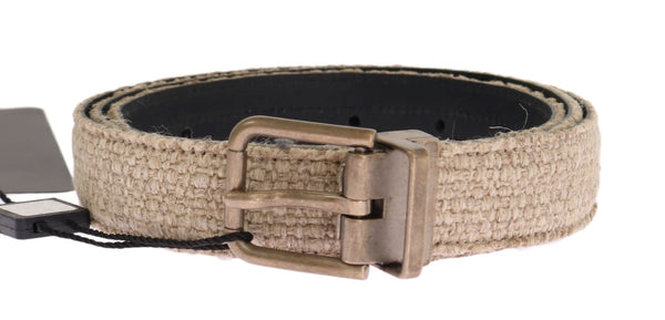 Beige Linen Leather Gold Belt