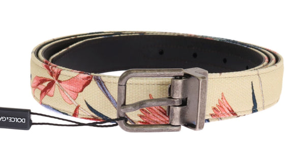Beige Denim Leather Belt