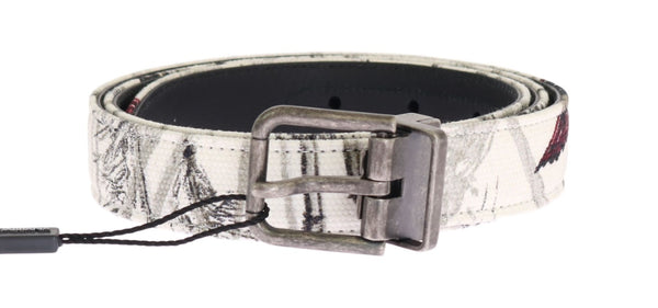 White Denim Bird Print Leather Belt