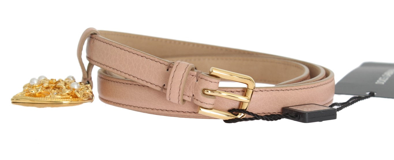 Beige Leather MAMMA Gold Heart Belt