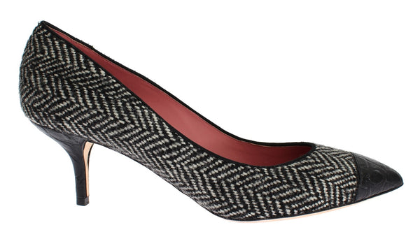 Gray Tweed Black Crocodile Pumps Shoes