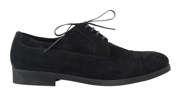 Black Suede Leather Formal Derby Shoes