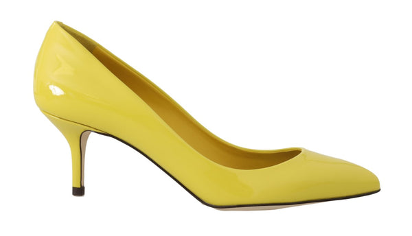 Yellow Patent Leather Pumps