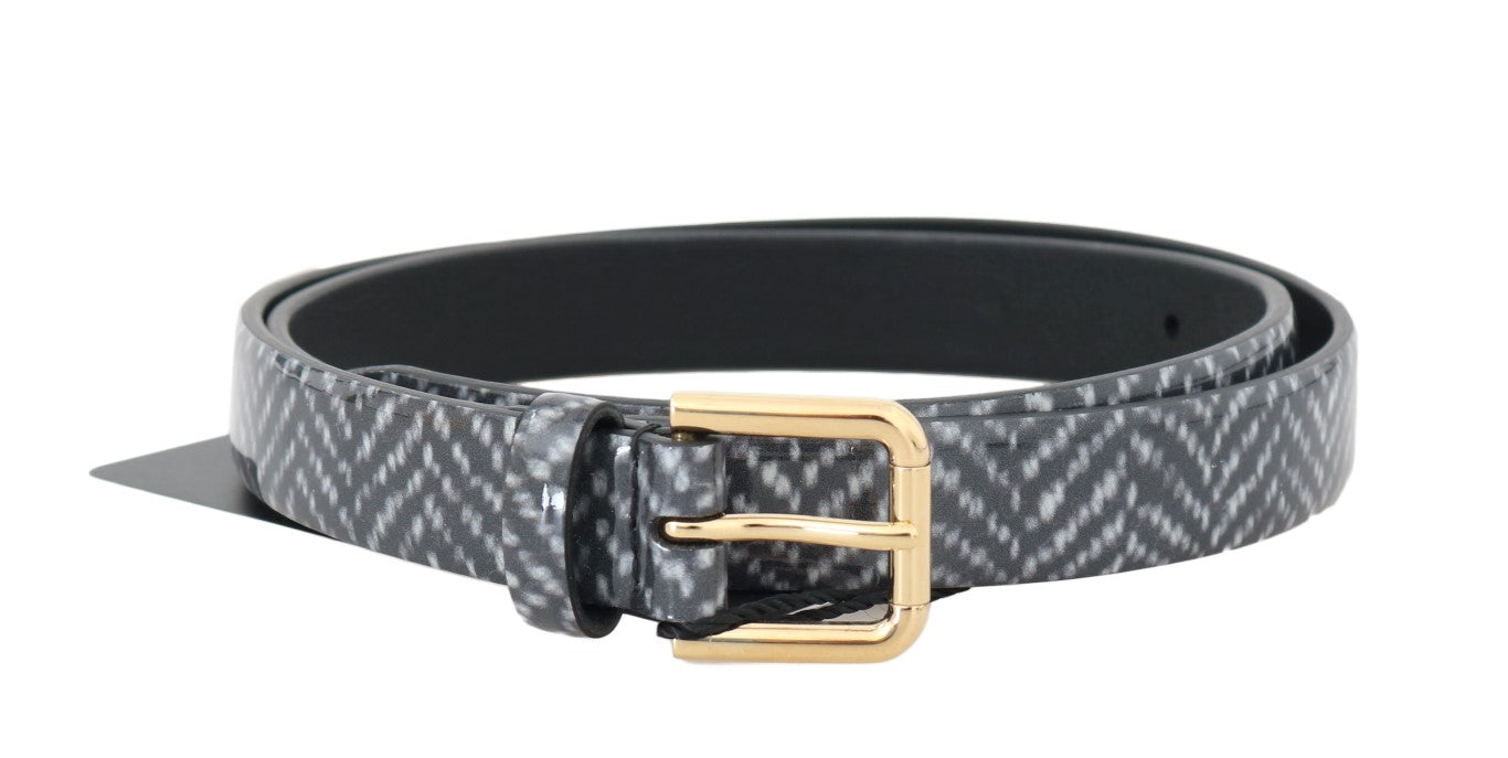 Black White Chevron Pattern Leather Belt