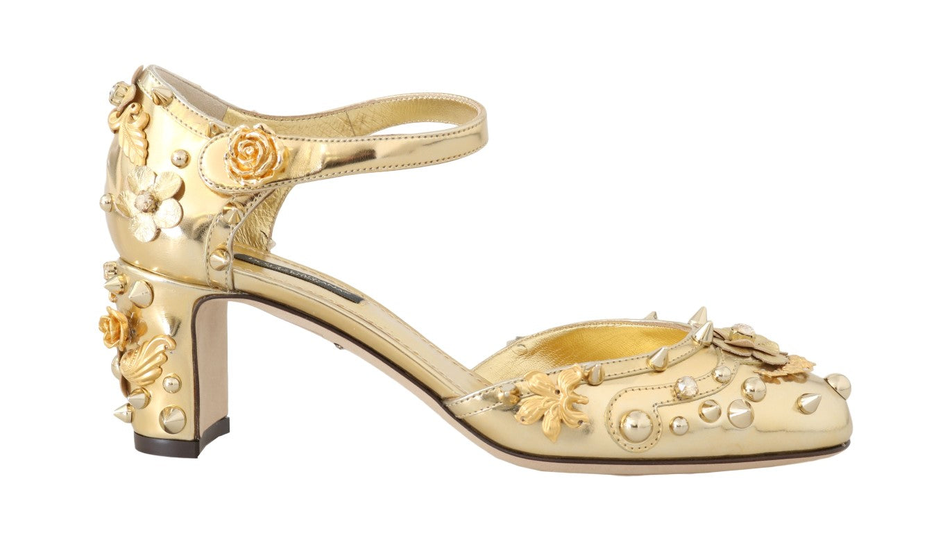 Gold Leather Floral Studded Pumps