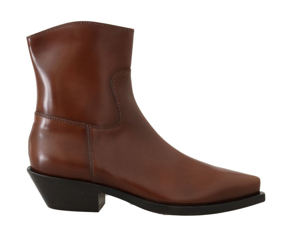 Brown Leather Zipper Cowboy Boots