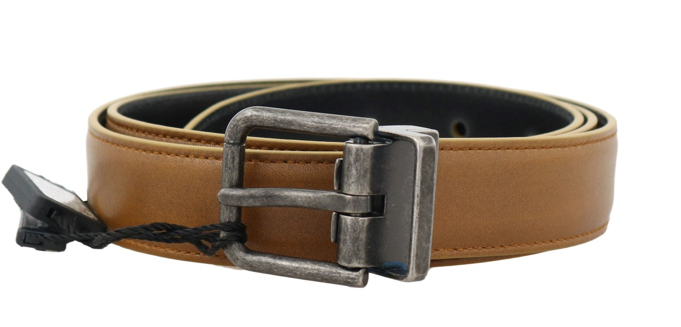 Yellow Gold Leather Gray Vintage Buckle Belt