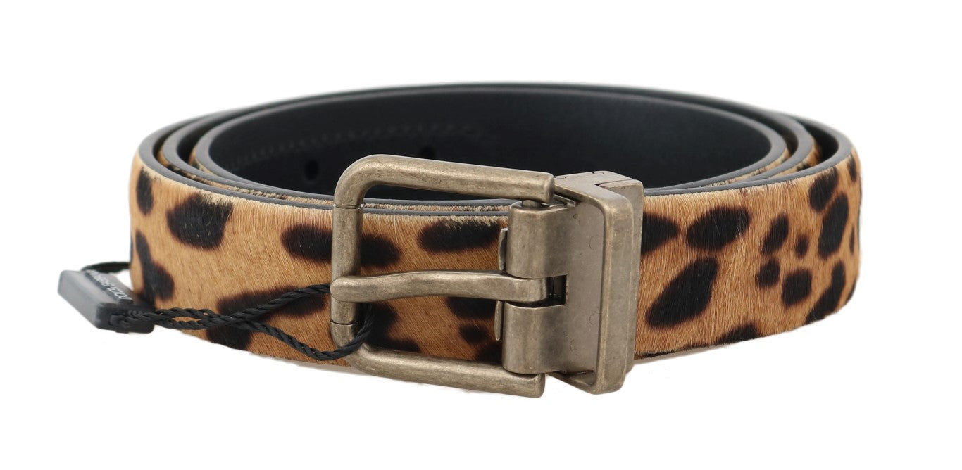 Brown Leopard Leather Calf Fur Belt