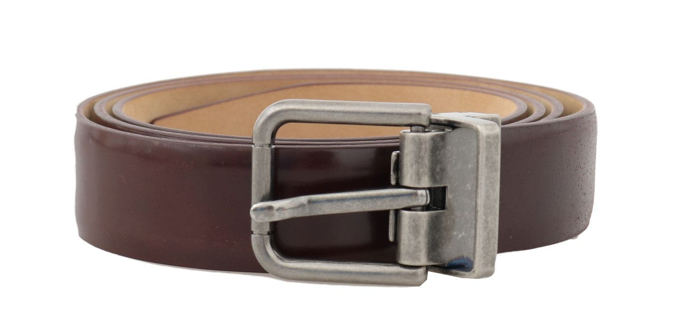 Bordeaux Leather Gray Buckle Belt