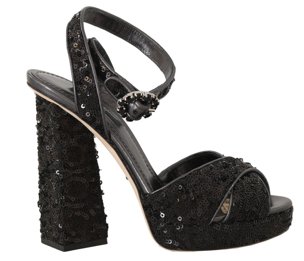 Black Leather Sequined Crystal Sandals