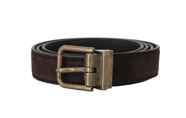 Brown Goatskin Gold Buckle Mens Belt