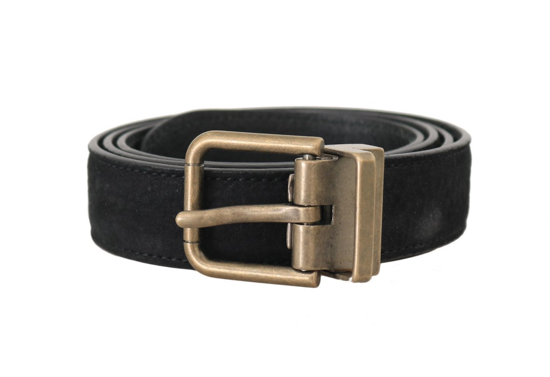 Blue Goatskin Suede Gold Buckle Mens Belt