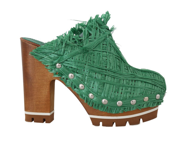 Green Raffia Mules Wood Heels Slides