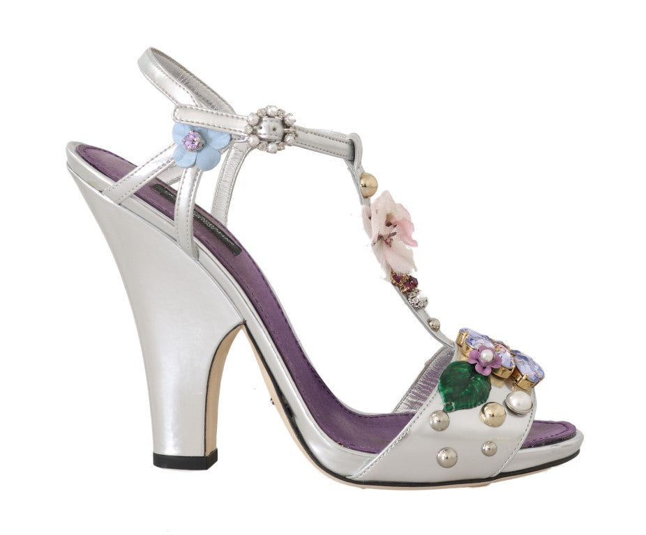 Silver Leather Crystal Floral Sandal