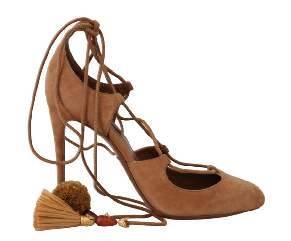 Brown Suede Tassel Ankle Strap Pumps