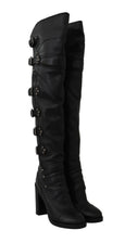 Dolce & Gabbana Black Leather Over Knee Biker Boots