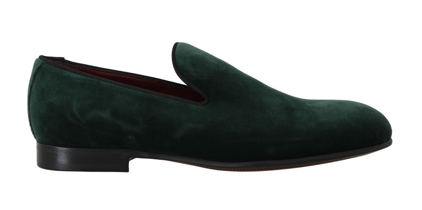 Dolce & Gabbana Green Suede Leather Slippers Loafers