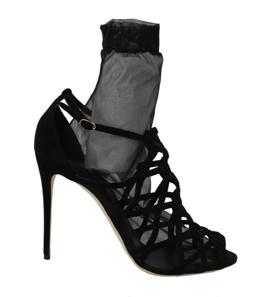 Dolce & Gabbana Black Suede Tulle Ankle Boots Sandals