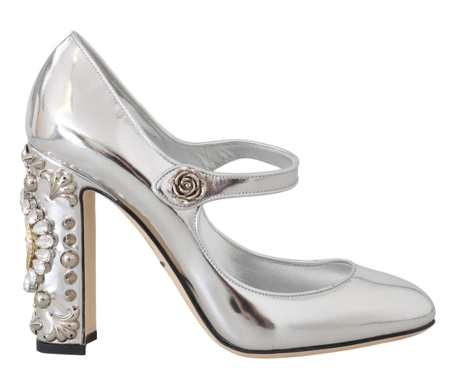 Silver Leather Heart Crystal Pumps