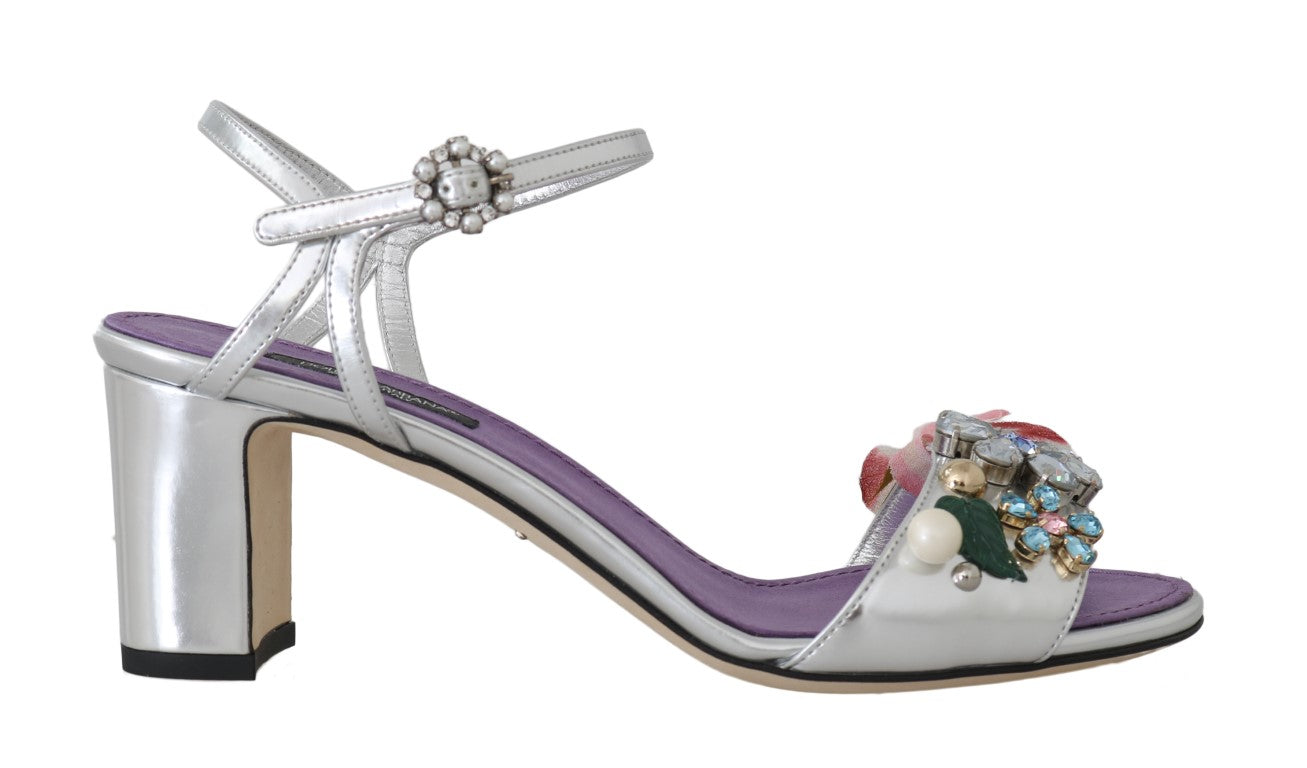 Silver Crystal Floral Sandals Shoes