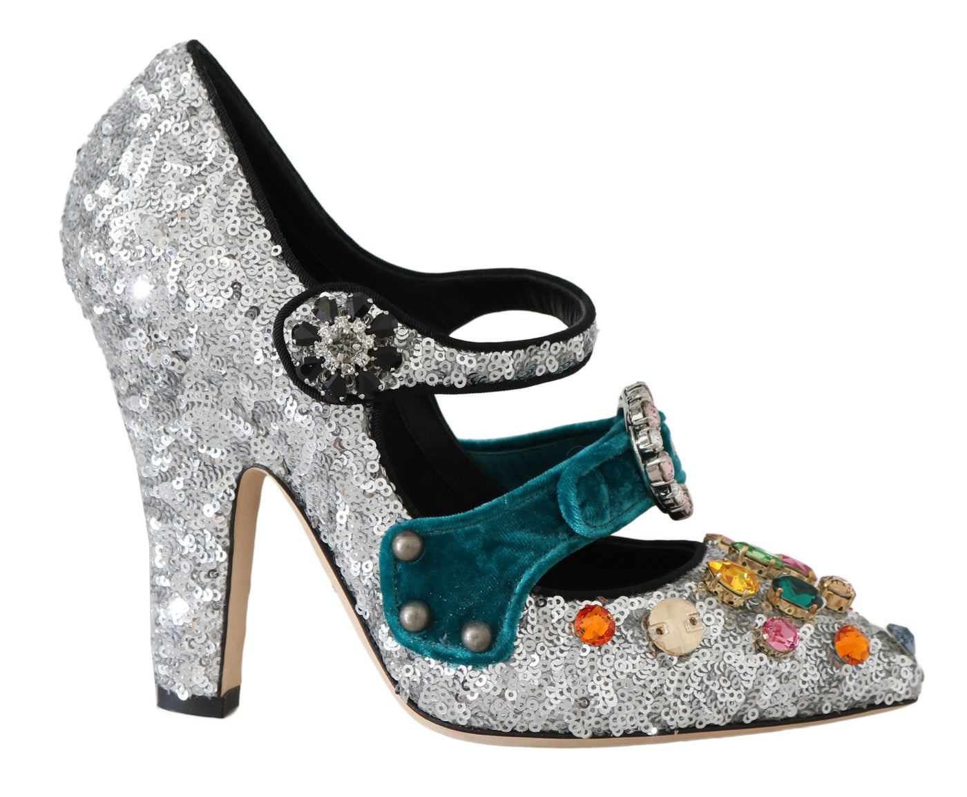 Silver Sequined Crystal Mary Janes Pumps
