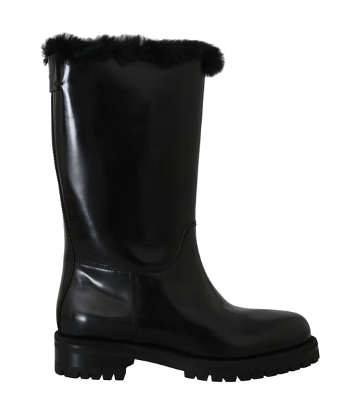 Black Leather Lapin Fur Boots